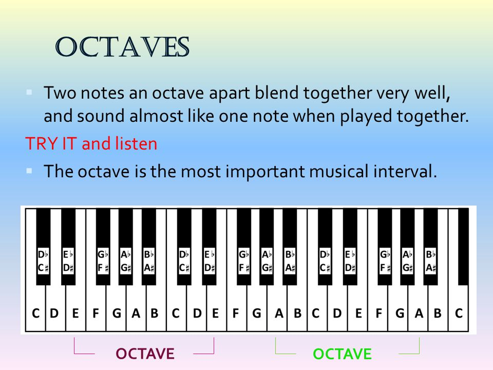 OCTAVES  Two notes an octave apart blend together very well, and sound almost like one note when played together. TRY IT and listen  The octave is t