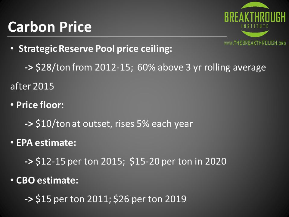 Carbon Price Strategic Reserve Pool price ceiling: -> $28/ton from 2012-15; 60% above 3 yr rolling average after 2015 Price floor: -> $10/ton at outset, rises 5% each year EPA estimate: -> $12-15 per ton 2015; $15-20 per ton in 2020 CBO estimate: -> $15 per ton 2011; $26 per ton 2019