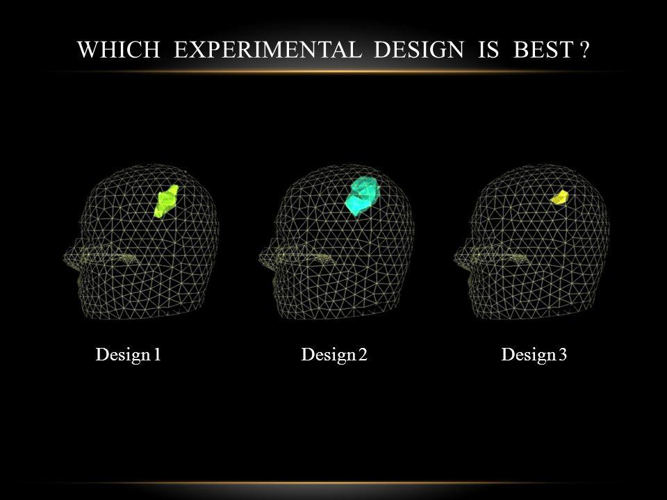 WHICH EXPERIMENTAL DESIGN IS BEST Design 1Design 3Design 2