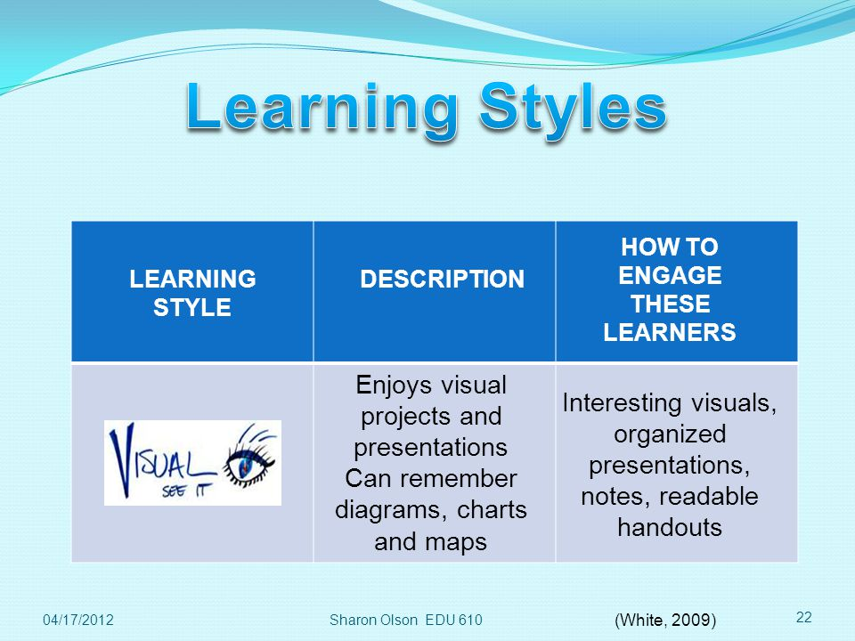 Sharon Olson EDU 610 22 LEARNING STYLE DESCRIPTION HOW TO ENGAGE THESE LEARNERS Enjoys visual projects and presentations Can remember diagrams, charts and maps Interesting visuals, organized presentations, notes, readable handouts 04/17/2012 (White, 2009)