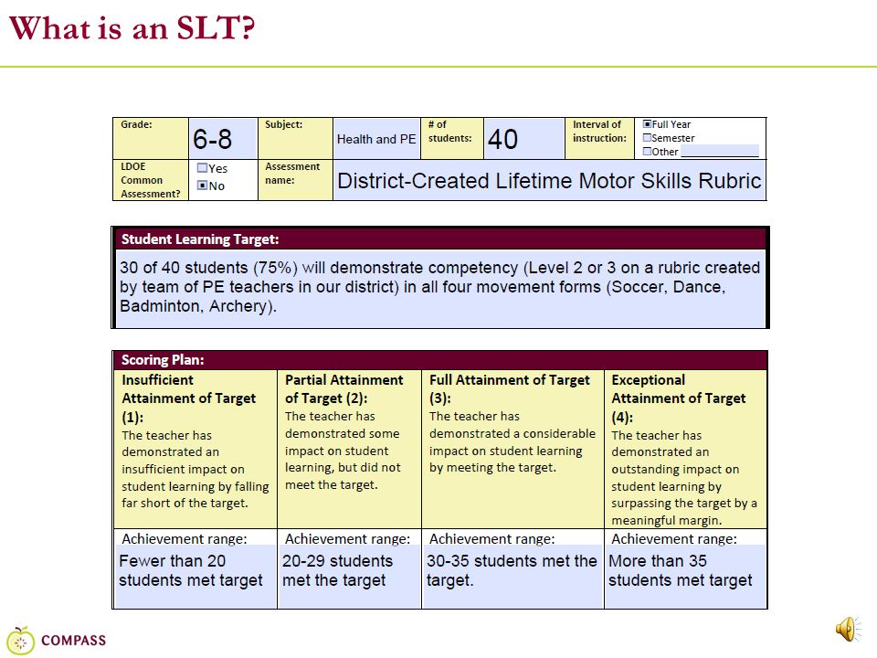 15 Step Four: Set the Growth Target & Aligned Scoring Plan For each target, teachers will set the expectation for student growth, a goal that is ambitious – a bit of a stretch for students – but still attainable.