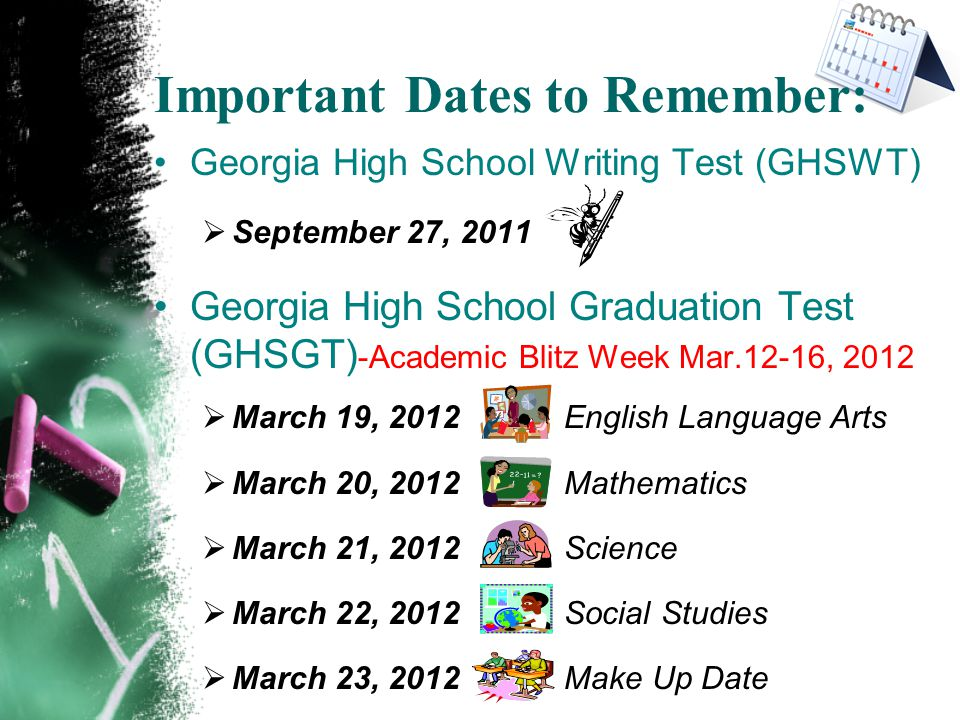 Important Dates to Remember: Georgia High School Writing Test (GHSWT)  September 27, 2011 Georgia High School Graduation Test (GHSGT) -Academic Blitz