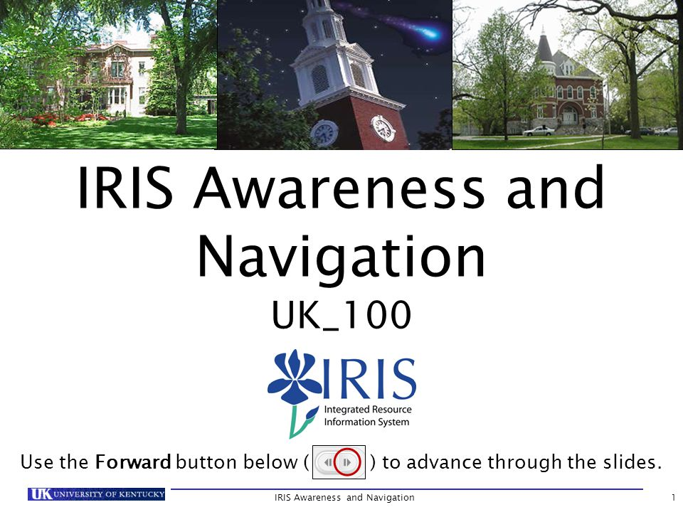 IRIS Awareness and Navigation UK_100 Use the Forward button below ( ) to advance through the slides.