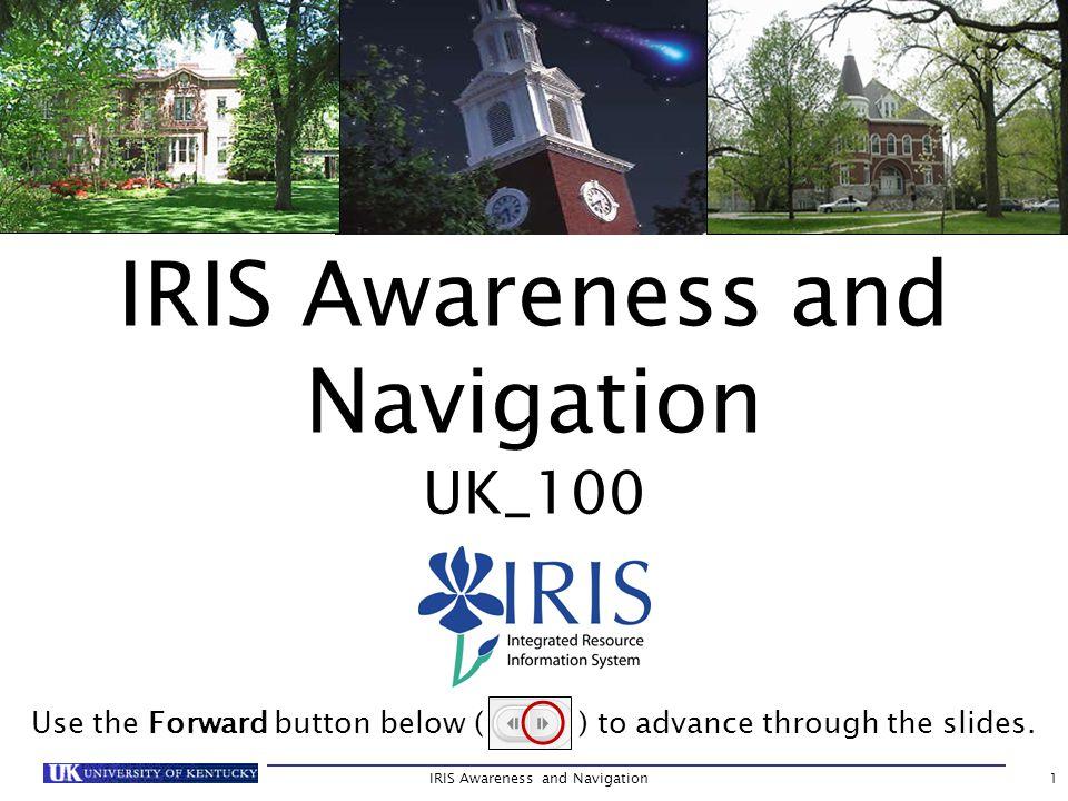 IRIS Awareness and Navigation62 Master Data