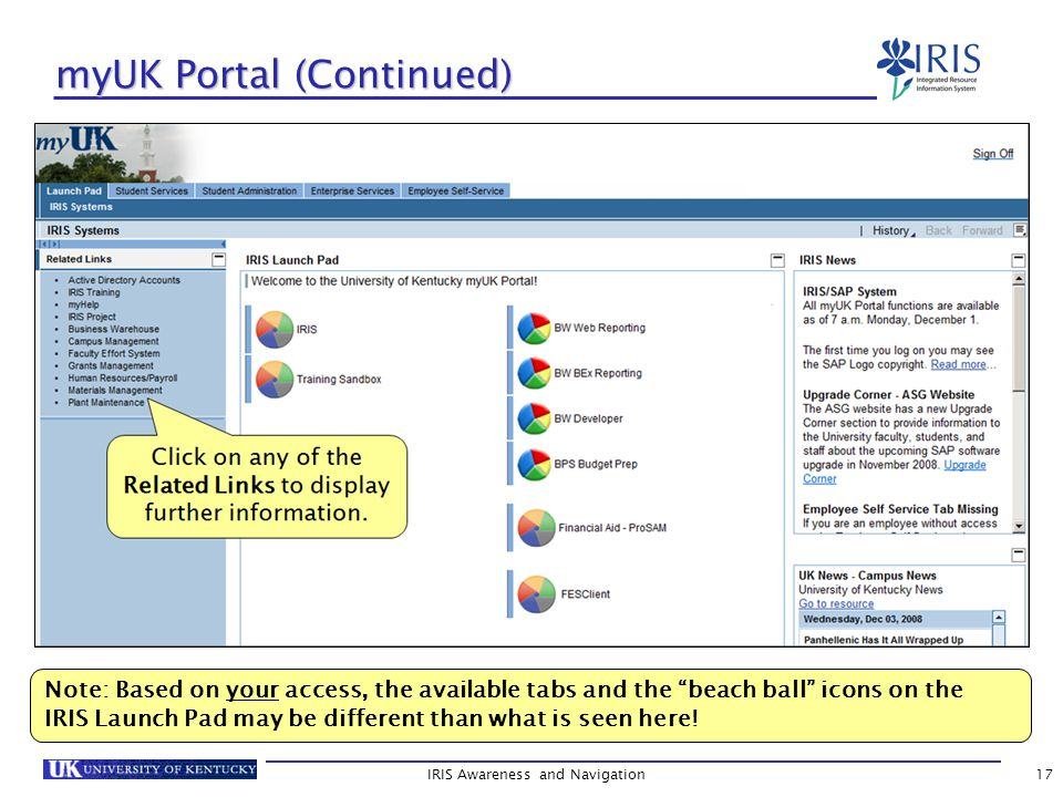 IRIS Awareness and Navigation17 myUK Portal (Continued) Note: Based on your access, the available tabs and the beach ball icons on the IRIS Launch Pad may be different than what is seen here!