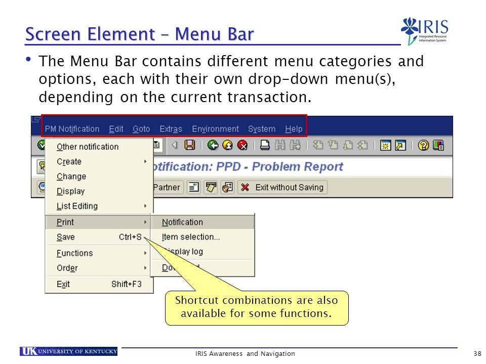 The Menu Bar contains different menu categories and options, each with their own drop-down menu(s), depending on the current transaction.