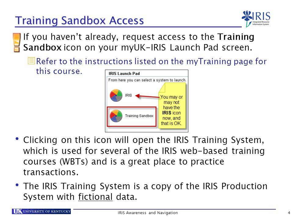 Training Sandbox Access If you haven't already, request access to the Training Sandbox icon on your myUK-IRIS Launch Pad screen.