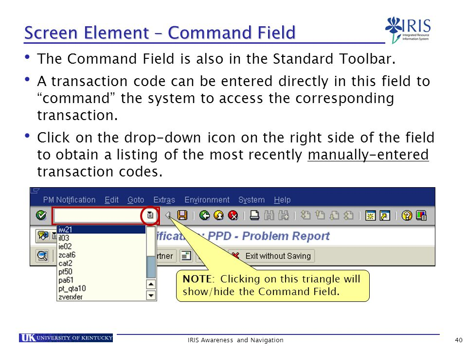 The Command Field is also in the Standard Toolbar.