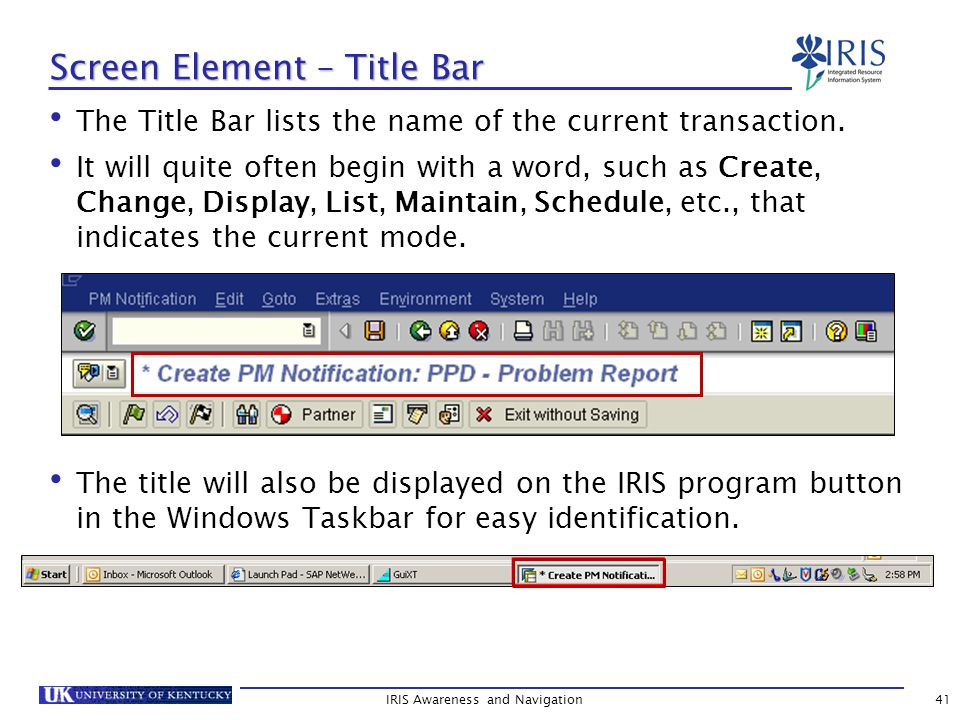 The Title Bar lists the name of the current transaction.
