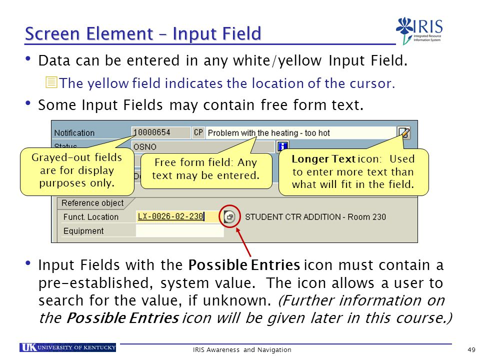 IRIS Awareness and Navigation49 Screen Element – Input Field Data can be entered in any white/yellow Input Field.