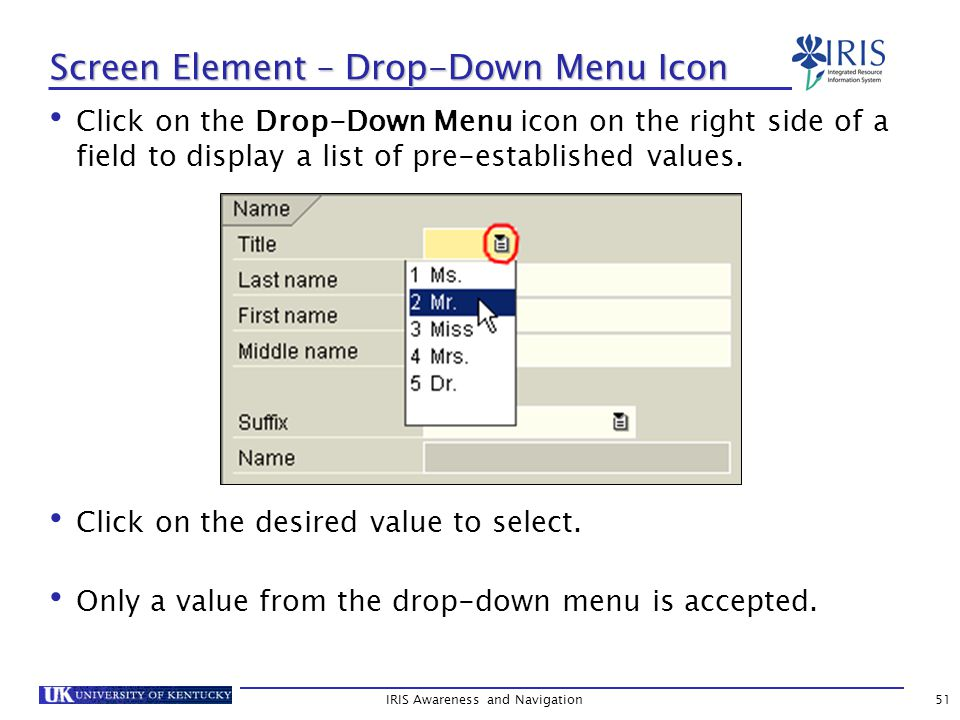 IRIS Awareness and Navigation51 Screen Element – Drop-Down Menu Icon Click on the Drop-Down Menu icon on the right side of a field to display a list of pre-established values.