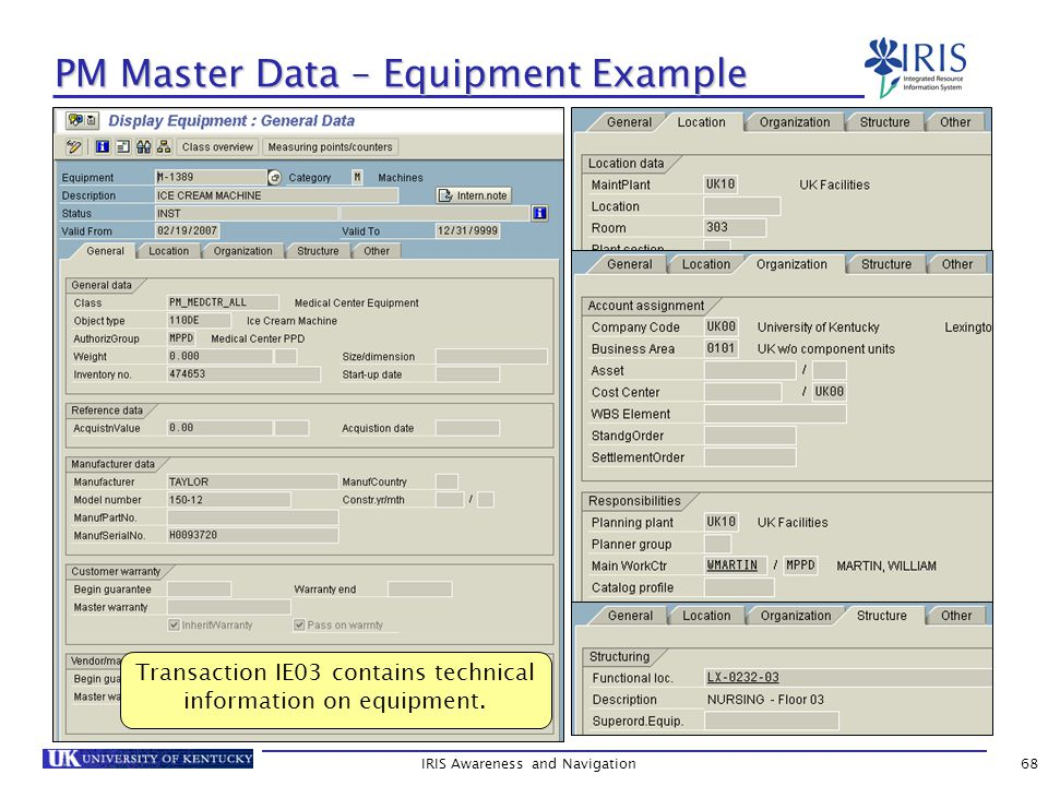 IRIS Awareness and Navigation68 PM Master Data – Equipment Example Transaction IE03 contains technical information on equipment.