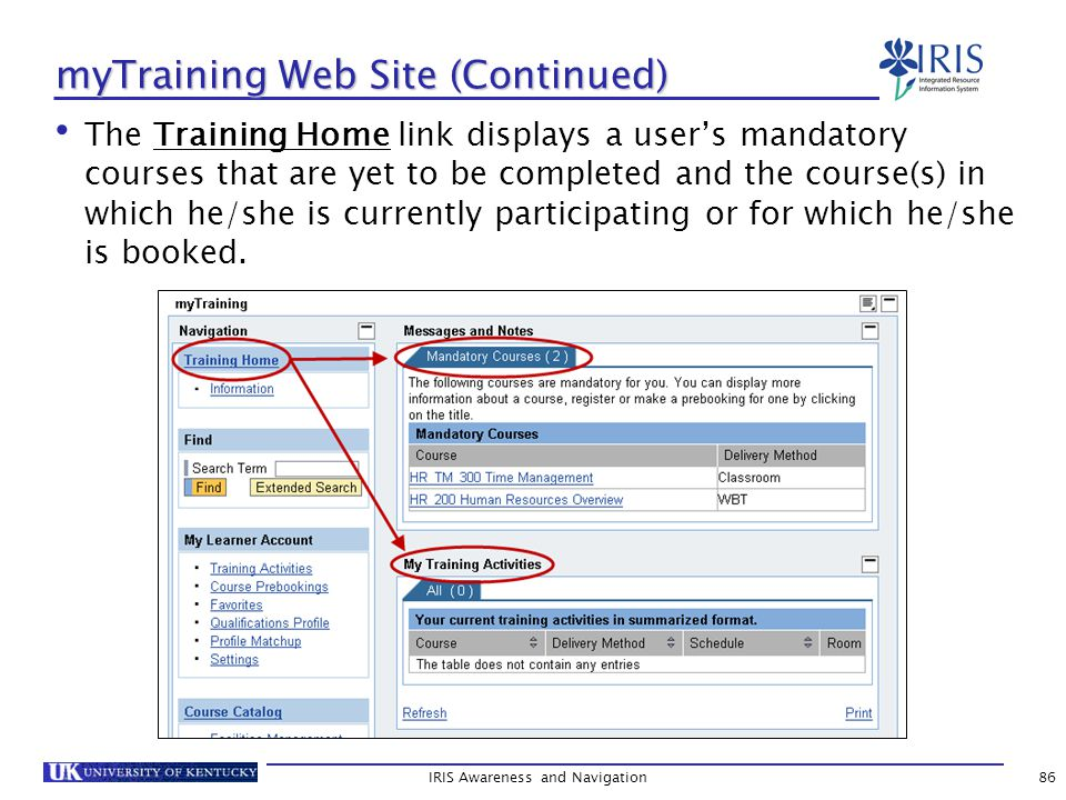 myTraining Web Site (Continued) The Training Home link displays a user's mandatory courses that are yet to be completed and the course(s) in which he/she is currently participating or for which he/she is booked.