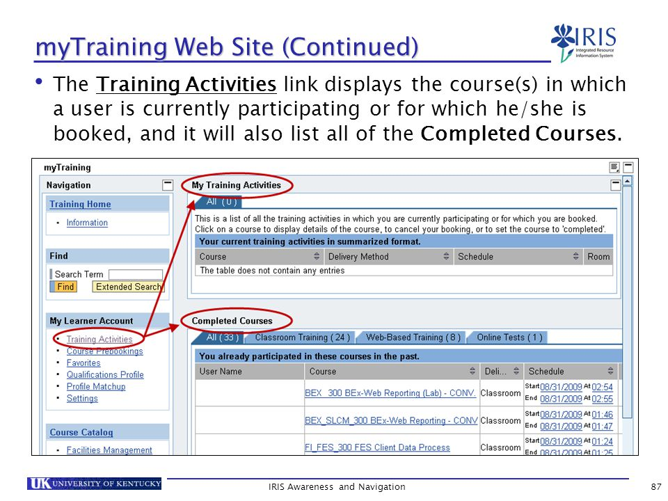 myTraining Web Site (Continued) The Training Activities link displays the course(s) in which a user is currently participating or for which he/she is booked, and it will also list all of the Completed Courses.