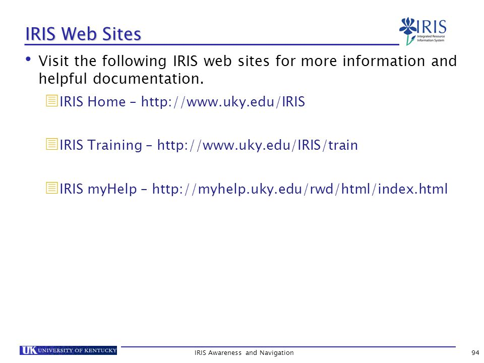 IRIS Web Sites Visit the following IRIS web sites for more information and helpful documentation.