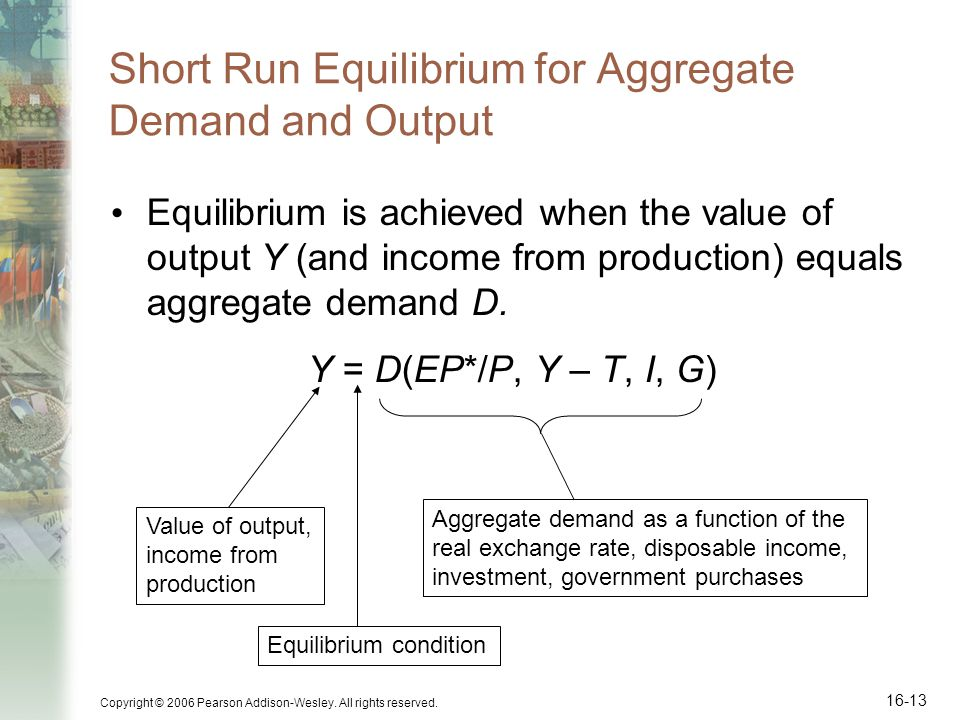 Copyright © 2006 Pearson Addison-Wesley. All rights reserved. 16-13 Short Run Equilibrium for Aggregate Demand and Output Equilibrium is achieved when