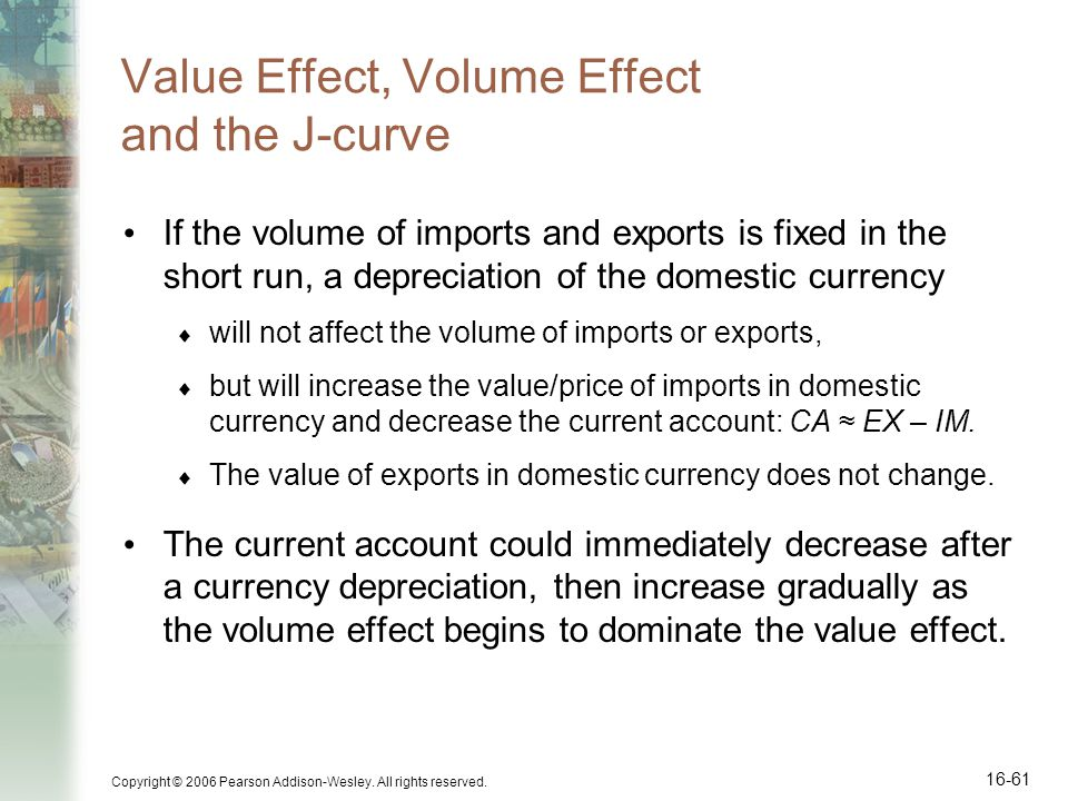 Copyright © 2006 Pearson Addison-Wesley. All rights reserved. 16-61 Value Effect, Volume Effect and the J-curve If the volume of imports and exports i