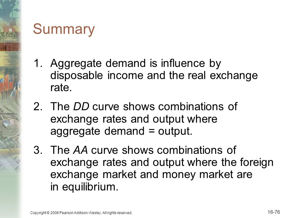 Copyright © 2006 Pearson Addison-Wesley. All rights reserved. 16-76 Summary 1.Aggregate demand is influence by disposable income and the real exchange