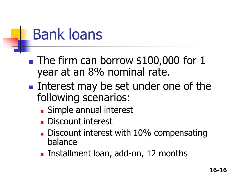 16-16 Bank loans The firm can borrow $100,000 for 1 year at an 8% nominal rate. Interest may be set under one of the following scenarios: Simple annua