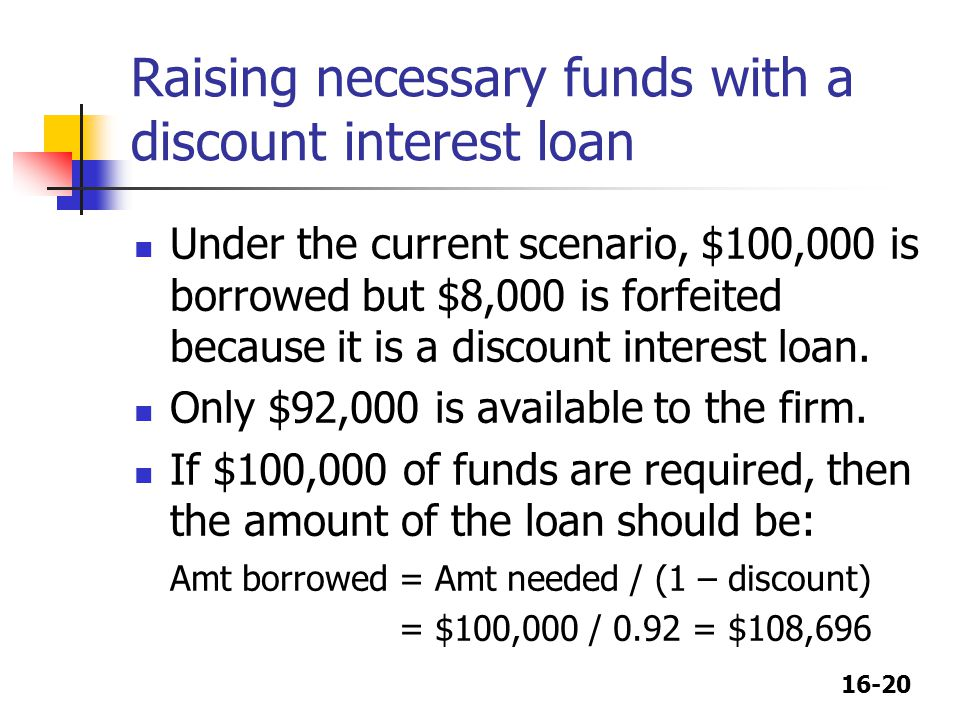 16-20 Raising necessary funds with a discount interest loan Under the current scenario, $100,000 is borrowed but $8,000 is forfeited because it is a d