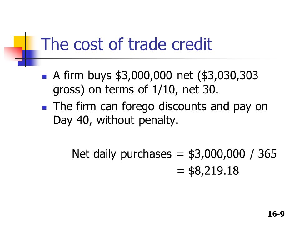 16-9 The cost of trade credit A firm buys $3,000,000 net ($3,030,303 gross) on terms of 1/10, net 30. The firm can forego discounts and pay on Day 40,