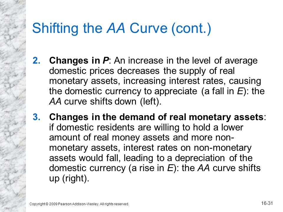 Copyright © 2009 Pearson Addison-Wesley. All rights reserved. 16-31 Shifting the AA Curve (cont.) 2.Changes in P: An increase in the level of average