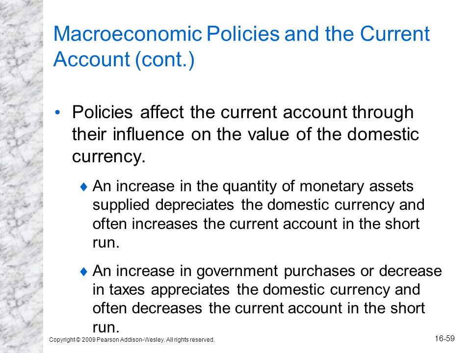 Copyright © 2009 Pearson Addison-Wesley. All rights reserved. 16-59 Macroeconomic Policies and the Current Account (cont.) Policies affect the current