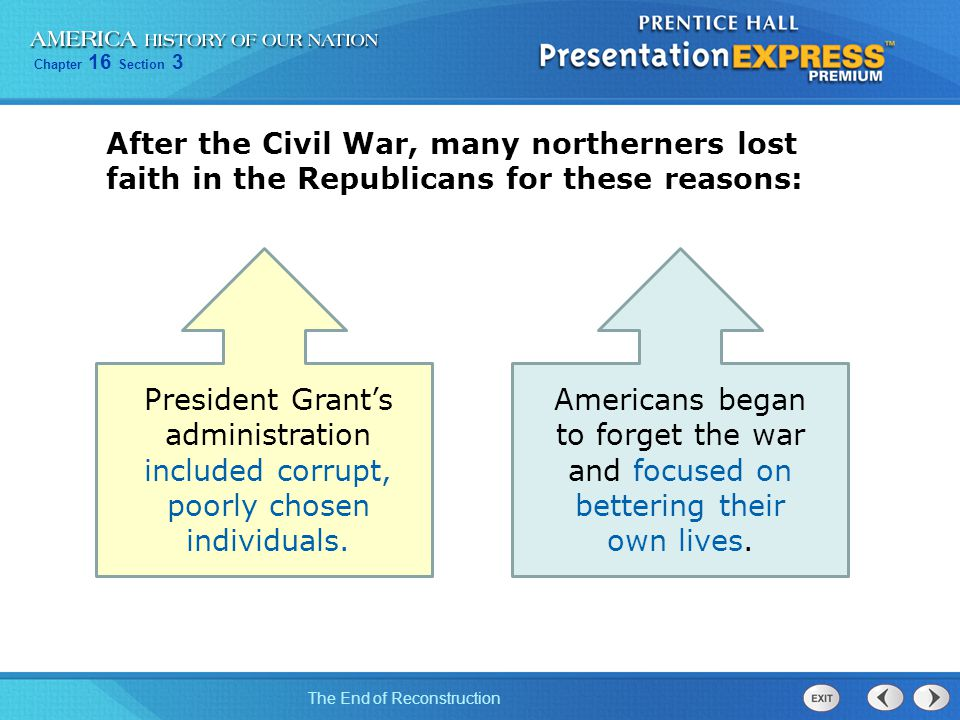Chapter 16 Section 3 The End of Reconstruction Americans began to forget the war and focused on bettering their own lives. President Grant's administr