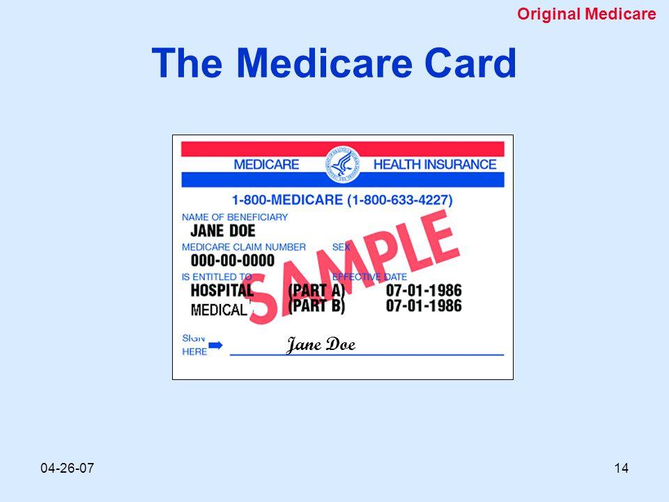04-26-0714 The Medicare Card Jane Doe Original Medicare
