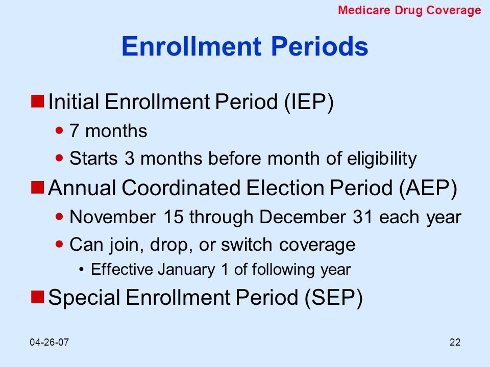 04-26-0722 Enrollment Periods Initial Enrollment Period (IEP) 7 months Starts 3 months before month of eligibility Annual Coordinated Election Period