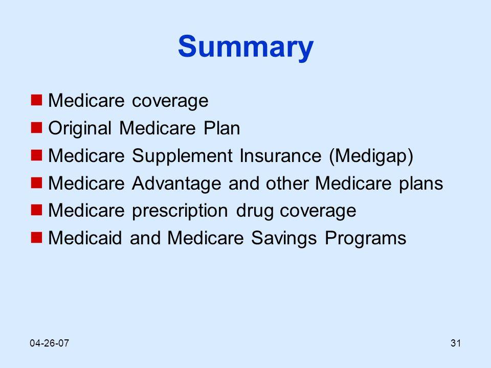 04-26-0731 Summary Medicare coverage Original Medicare Plan Medicare Supplement Insurance (Medigap) Medicare Advantage and other Medicare plans Medicare prescription drug coverage Medicaid and Medicare Savings Programs