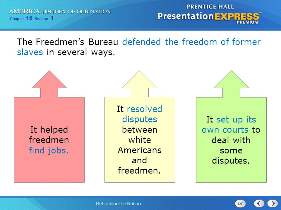 Chapter 16 Section 1 Rebuilding the Nation The Freedmen's Bureau defended the freedom of former slaves in several ways. It helped freedmen find jobs.