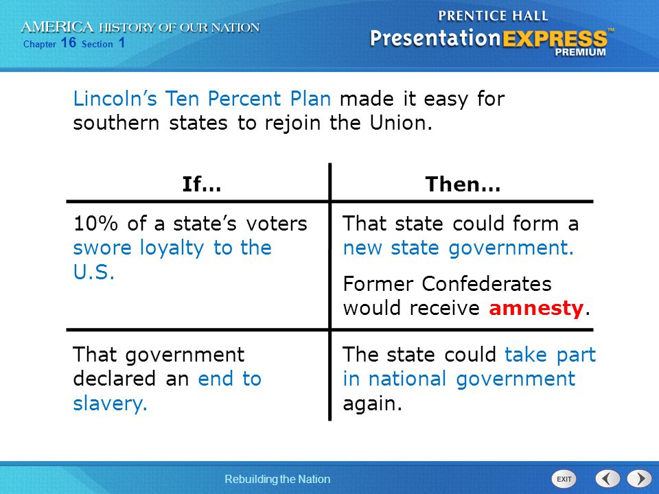 Chapter 16 Section 1 Rebuilding the Nation Lincoln's Ten Percent Plan made it easy for southern states to rejoin the Union. That state could form a ne
