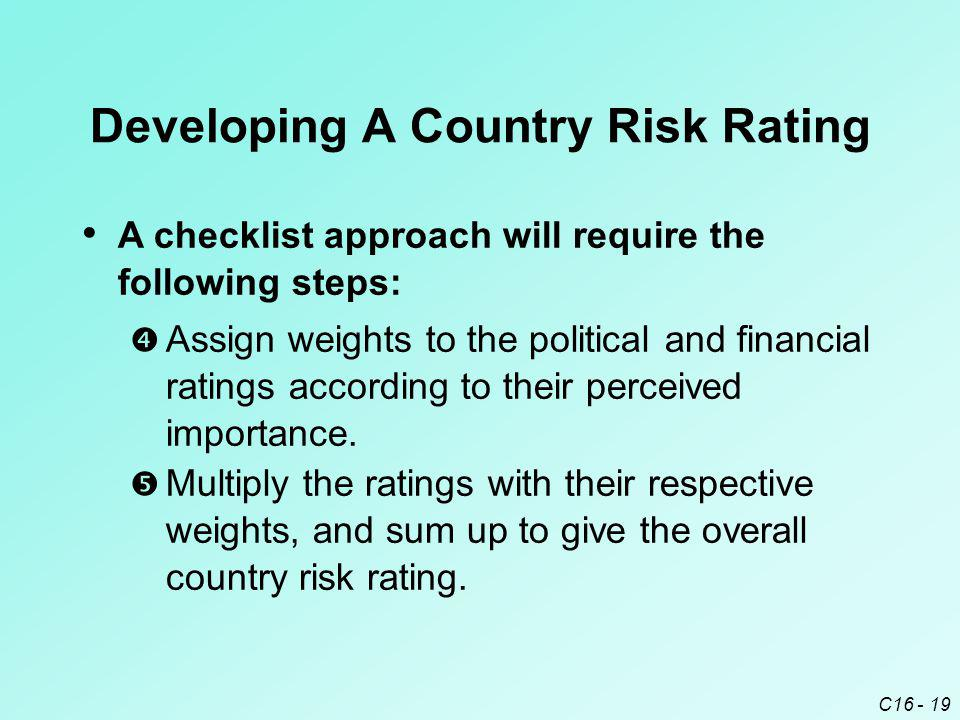C16 - 19 Developing A Country Risk Rating  Multiply the ratings with their respective weights, and sum up to give the overall country risk rating. 