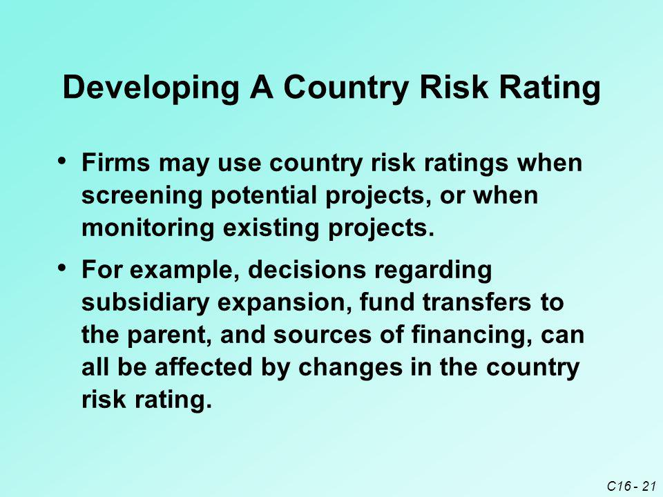 C16 - 21 Developing A Country Risk Rating Firms may use country risk ratings when screening potential projects, or when monitoring existing projects.