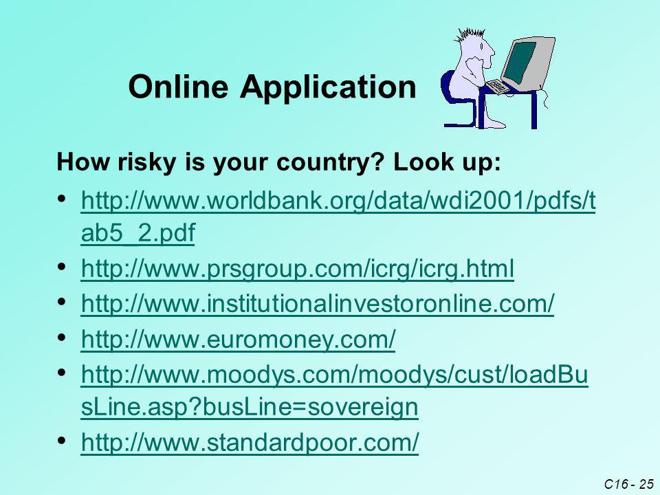 C16 - 25 http://www.worldbank.org/data/wdi2001/pdfs/t ab5_2.pdf http://www.worldbank.org/data/wdi2001/pdfs/t ab5_2.pdf http://www.prsgroup.com/icrg/ic