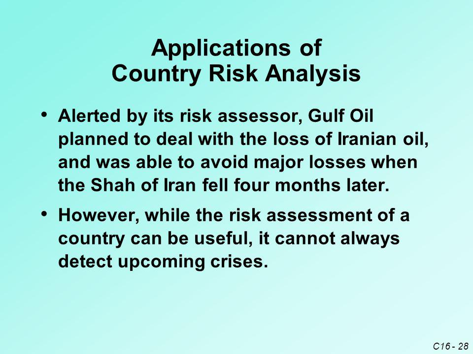 C16 - 28 Applications of Country Risk Analysis Alerted by its risk assessor, Gulf Oil planned to deal with the loss of Iranian oil, and was able to av