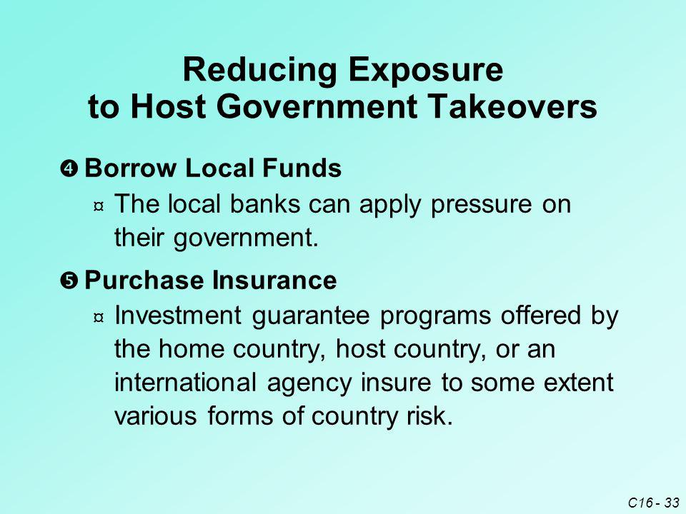C16 - 33  Borrow Local Funds ¤ The local banks can apply pressure on their government.