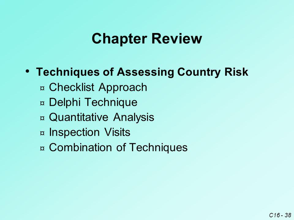 C16 - 38 Chapter Review Techniques of Assessing Country Risk ¤ Checklist Approach ¤ Delphi Technique ¤ Quantitative Analysis ¤ Inspection Visits ¤ Combination of Techniques