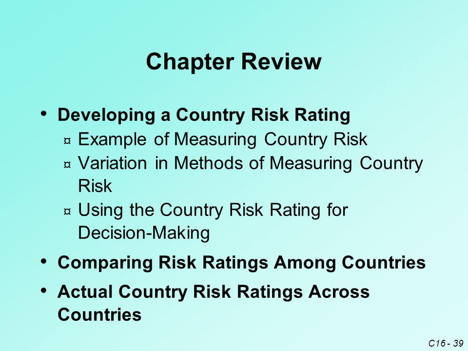 C16 - 39 Chapter Review Developing a Country Risk Rating ¤ Example of Measuring Country Risk ¤ Variation in Methods of Measuring Country Risk ¤ Using the Country Risk Rating for Decision-Making Comparing Risk Ratings Among Countries Actual Country Risk Ratings Across Countries