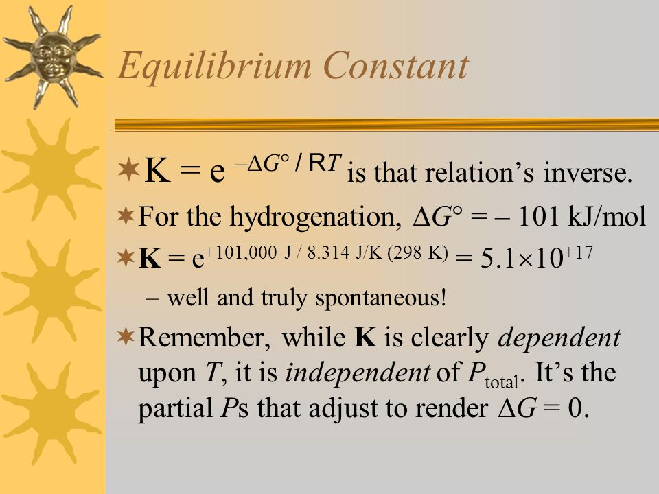 G and Reaction Progress,   0 (pure reactants) 1 (pure products) G equilibrium G°G° G minimizes at equilibrium.