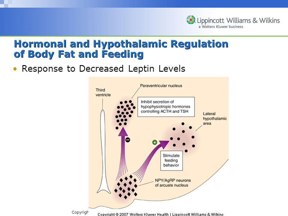 Copyright © 2007 Wolters Kluwer Health | Lippincott Williams & Wilkins Hormonal and Hypothalamic Regulation of Body Fat and Feeding Response to Decreased Leptin Levels