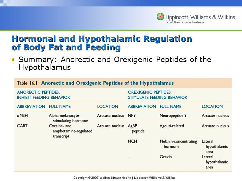 Copyright © 2007 Wolters Kluwer Health | Lippincott Williams & Wilkins Hormonal and Hypothalamic Regulation of Body Fat and Feeding Summary: Anorectic
