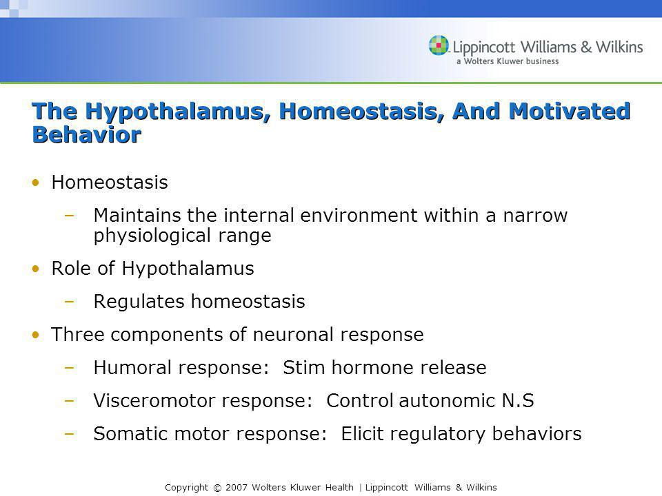Copyright © 2007 Wolters Kluwer Health | Lippincott Williams & Wilkins The Hypothalamus, Homeostasis, And Motivated Behavior Homeostasis –Maintains the internal environment within a narrow physiological range Role of Hypothalamus –Regulates homeostasis Three components of neuronal response –Humoral response: Stim hormone release –Visceromotor response: Control autonomic N.S –Somatic motor response: Elicit regulatory behaviors