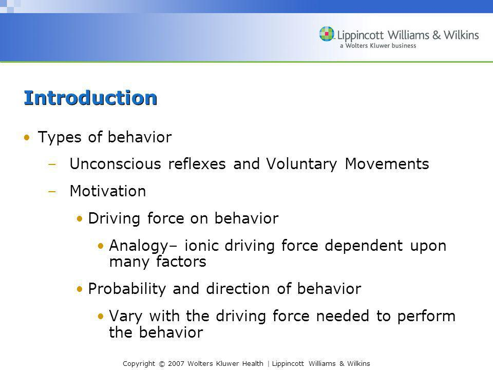 Copyright © 2007 Wolters Kluwer Health | Lippincott Williams & Wilkins Introduction Types of behavior –Unconscious reflexes and Voluntary Movements –M