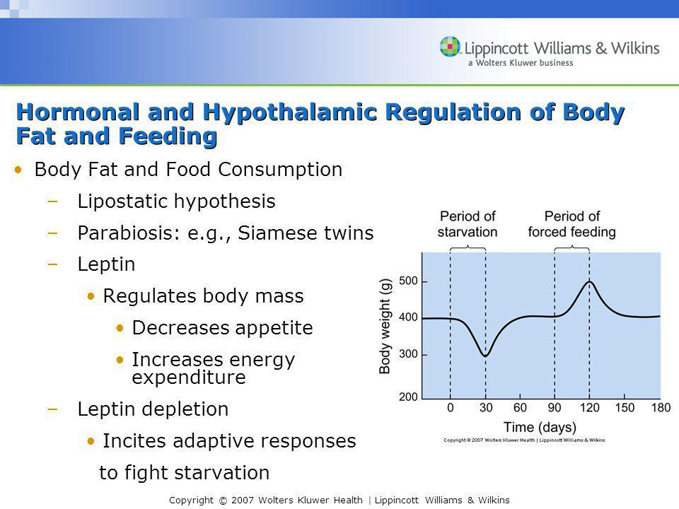 Copyright © 2007 Wolters Kluwer Health | Lippincott Williams & Wilkins Hormonal and Hypothalamic Regulation of Body Fat and Feeding Body Fat and Food Consumption –Lipostatic hypothesis –Parabiosis: e.g., Siamese twins –Leptin Regulates body mass Decreases appetite Increases energy expenditure –Leptin depletion Incites adaptive responses to fight starvation