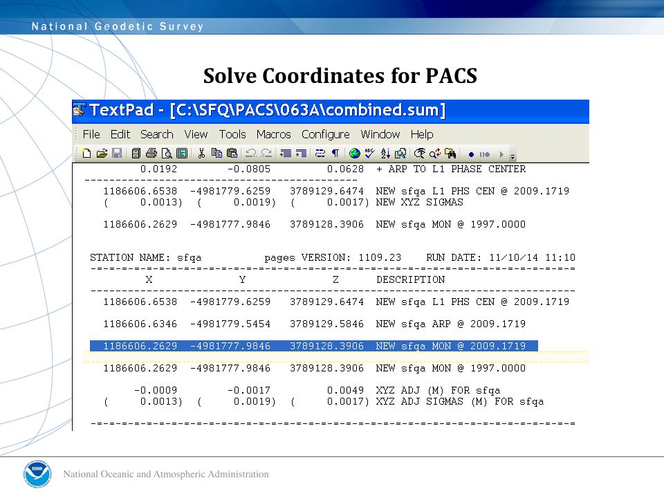 Solve Coordinates for PACS