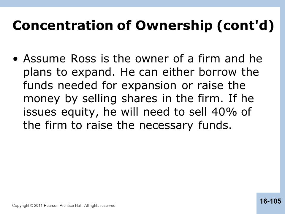 Copyright © 2011 Pearson Prentice Hall. All rights reserved. 16-105 Concentration of Ownership (cont'd) Assume Ross is the owner of a firm and he plan
