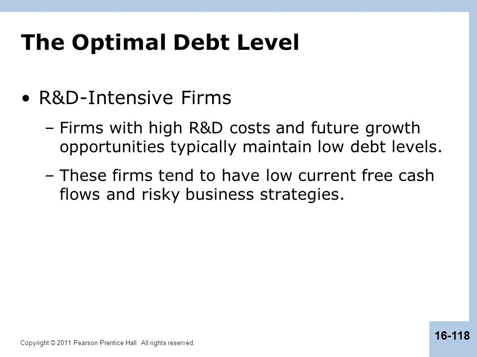 Copyright © 2011 Pearson Prentice Hall. All rights reserved. 16-118 The Optimal Debt Level R&D-Intensive Firms –Firms with high R&D costs and future g