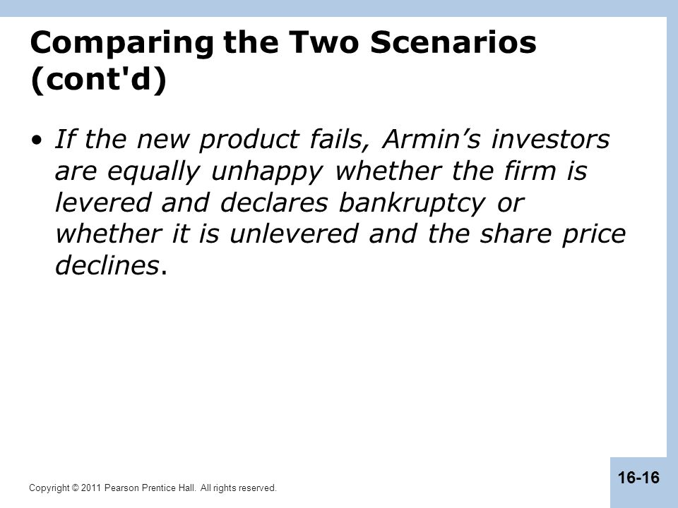 Copyright © 2011 Pearson Prentice Hall. All rights reserved. 16-16 Comparing the Two Scenarios (cont'd) If the new product fails, Armin's investors ar
